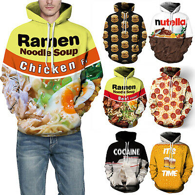 Ramen Noodle Soup Chicken Food Sweatshirt Hoodies Unisex 3D Graphic Pullover Top