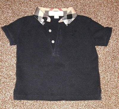Baby Boys BURBERRY Designer Polo Shirt 9 Months (More Like 3-6 Months) Navy