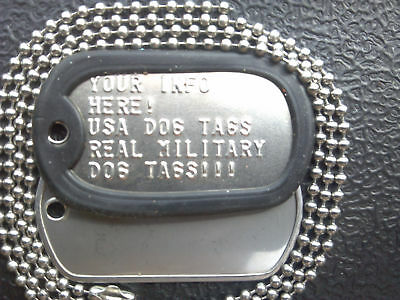 Custom Embossed Authentic Military Dog Tags -