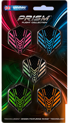 Winmau PRISM FLIGTH COLLECTION - 5 Sets of Flights Translucent Rhino Technology