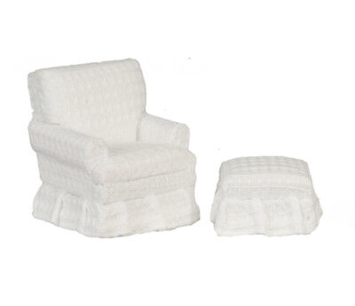 Dollhouse Furniture Traditional White Club Chair with Ottoman by Town Square