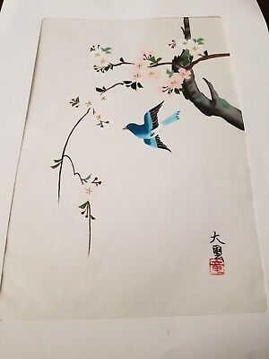 VINTAGE Japanese PAINTING ON SILK, Birds & Flowers, SIGNED, Unframed, Asian Old