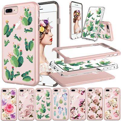 For iPhone 7 8 6s 6 Plus Flower Floral Crystal Silicone Cute Phone Case Cover