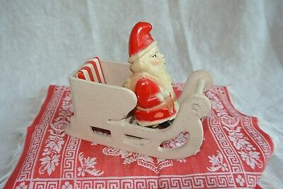 Vintage Celluloid Father Christmas Santa Claus Belsnickle in  Sleigh