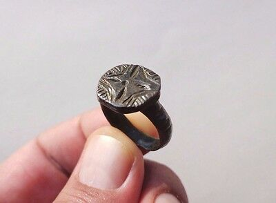 ancient late Roman-Byzantine bronze nicely engraved ring,date circa X century AD