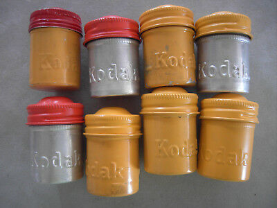 Vintage Kodak Metal Film Storage Canisters  Yellow,Red and Silver Assortment