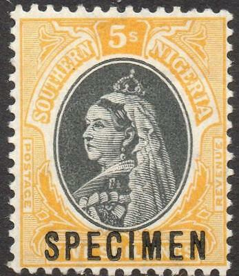 SOUTHERN NIGERIA: 1901-02 Sg 8s 5/- Black & O.Yellow M.Mint Spec Ovpt (19177)
