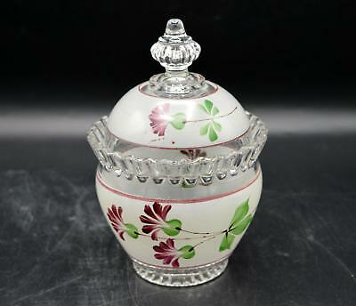 Vintage Covered Glass Jar - Pink Painted Floral Design