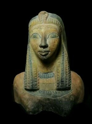 Antique Ancient Egyptian painted limestone queen statue Ancient