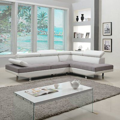 2 Pc Modern Contemporary Faux Leather Sectional Sofa Living Room