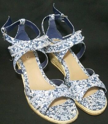 d9c4a2a6c756 OLD NAVY Blue Platform Wedge Heels Ankle Ties Open Toe Women Shoe Size 7 EUC.