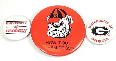 Vintage University of Georgia Athens UGA Bulldog Football (Lot of 3) Button Pins