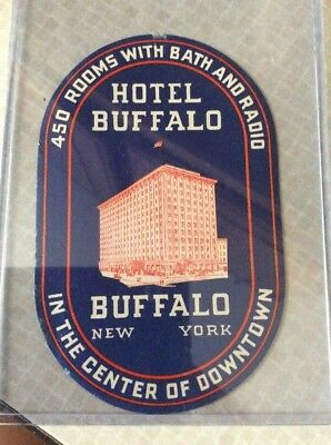 Buffalo Hotel NY New York Vintage Travel Decal Luggage Label Take A Look!