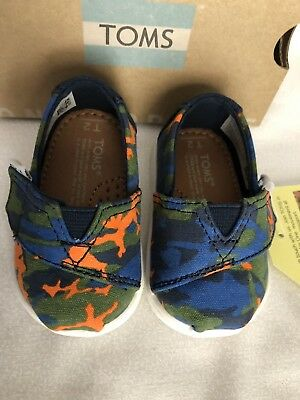 635c9e619f6 Tiny Toms Classic Navy multi Camo Baby Slip-on Shoes US size 2