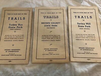 3 Maps Trails in Turkey Run State Park, Brown Creek State Park,Spring Mill Ind