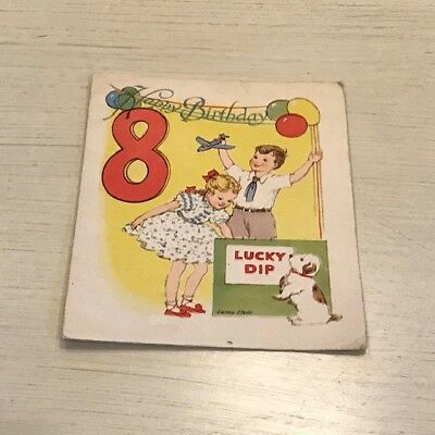 Vintage 1950s Birthday Card for 8 year old...Boy & Girl with Dog..Lucky Dip..Col