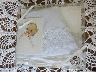 NEW VNTG Nasharr White Lace Baby Christening Bonnet Wedding Keepsake Hanky