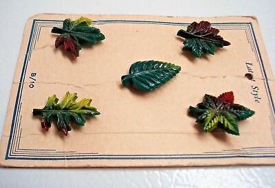 Vintage AUTUMN LEAVES Novelty Plastic Shank Buttons on Card 1930-40s Antique