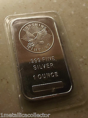 1 oz. SUNSHINE MINT SILVER BAR .999 Fine Silver  Bar SEALED