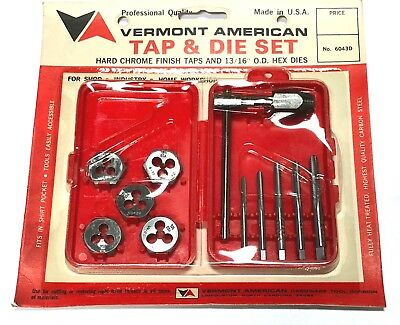 Vermont American 11pc Tap & Die Set Carbon Steel USA Made