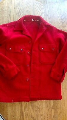 Vintage Official Boy Scouts of America BSA Red Wool Jacket Sz 16 #552