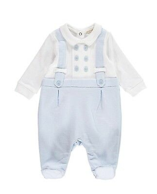 New Winter Stock  Mintini Baby Boy Blue/white All In One  With Imitation Braces