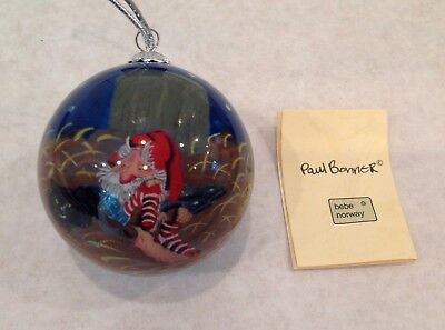Paul Bonner Bebe Norway Troll And Cat Art Glass Ornament Signed Comes in Box
