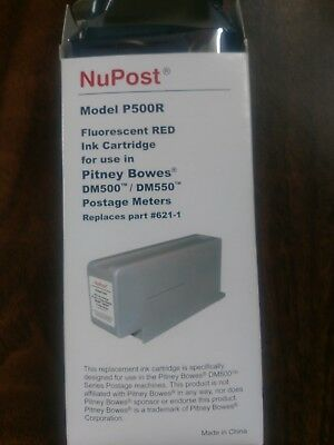 NuPost Flourescent Red Ink Cartridge Model P500R For Pitney Bowes DM500/DM550