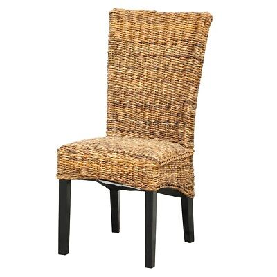"40"" Tall Dining Chair Solid Mahogany Wood Frame Natural Woven Fibers"