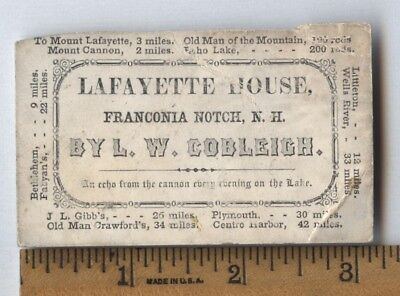 Antique 1850 Lafayette House Hotel White Mountains Nh Ad Trade Card Old Man