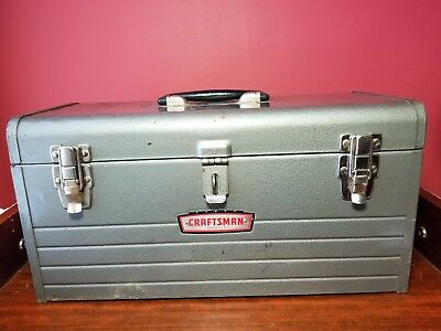 """Vintage Sears Craftsman 18"""" Gray Metal Tool Box With Tray #6500"""