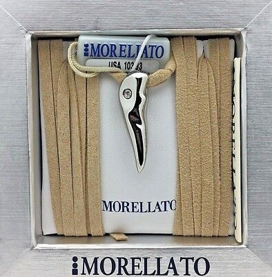 Morellato Italian Horn Charm Pendant with Diamond & Leather Suede Necklace