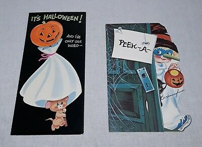 Vintage Norcross Halloween Greeting Card Lot Of 2 Ghost Jack O Lantern