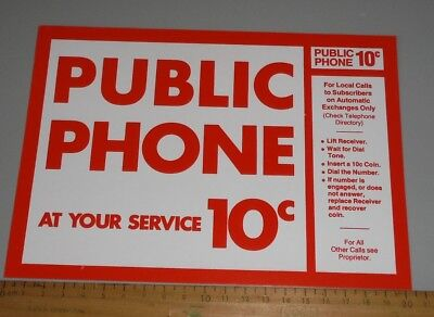original cardboard sign for Victa Red Phone Payphone Coin Operated  public phone