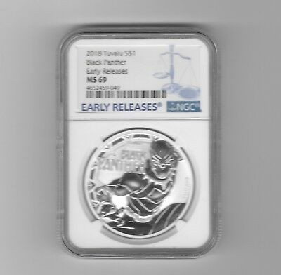 2018 Tuvalu Black Panther 1 oz Silver Marvel Series $1 Coin NGC MS69