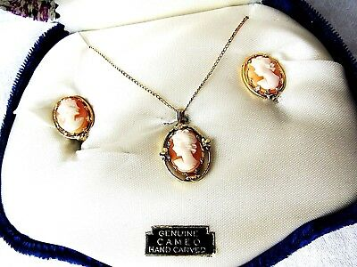 Vintage 12K G F Dixelle Hand Carved Cameo Necklace & Screw Earrings Original Box