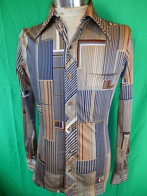 Vintage 70s Brown Blue Patterned Polyester Adam Long Sleeve Disco Party Shirt S