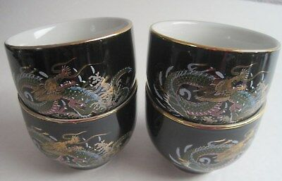 Vintage Black Hand Painted Dragon Tea cups - Made In Japan Set of 4
