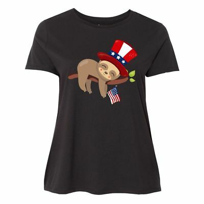 Inktastic Sleepy Patriotic Sloth Women's Plus Size T-Shirt American Flag Cute Of