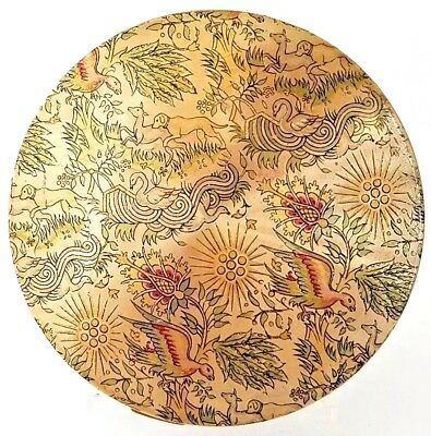 Vintage RARE Vanity Fair Gold Tone Compact with MYSTICAL Animals Enameled Scene