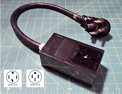 Electric Car Charger Adapter NEW 14-30P Plug NEMA 14-50R Receptacle 10 AWG Cord