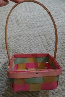 """Vtg Mid Century 6"""" Small Square Woven Colorful Easter Basket VGUC"""