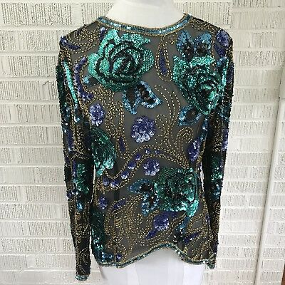 Vintage womens Size 8 formal sequin beaded top 100% silk long sleeve Shirt