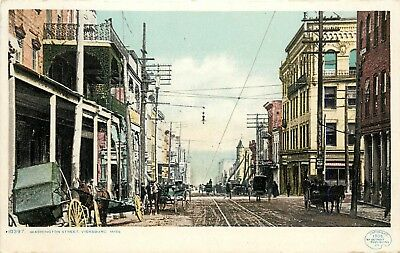 c1906 Postcard; 10397. Washington Street, Vicksburg MS Warren County Horsedrawn