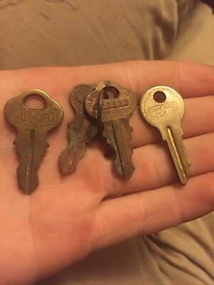 Antique Solid Brass Chicago Lock Co Keys Chicago Illinois Lot Of 4