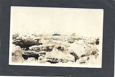 Akutan, Ak: Rppc: 1922: Fishing Boater Travelling In The Ice Flow