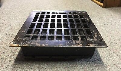 GREAT VINTAGE Floor REGISTER IRON 10x8 + LOUVERS Grate HEAT GRILLE