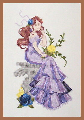 """Completed Cross Stitch """"lady In Mauve Dress""""lady 25Cm X 14Cm- Frame Not Included"""