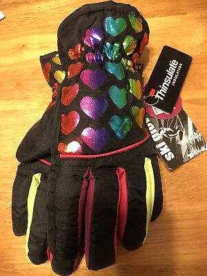 Girls Size M/L SO® Rainbow Foil Heart Thinsulate Ski Gloves New