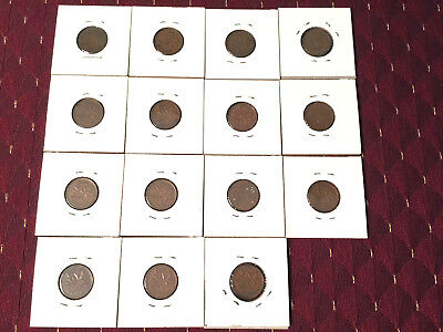 Lot Of 15 Canadian Pennies 1937-1958 Coins